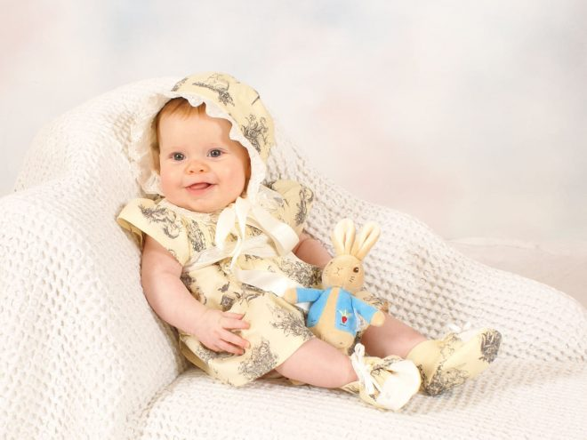 Isla Baby Coulottes Beatrix Potter Bunny Peter Rabbit Fabric Butter yellow cotton Heirloom lace insert collar Baby Outfit Occasion Wear Special Classic Vintage Clothes Babies Boy Girl